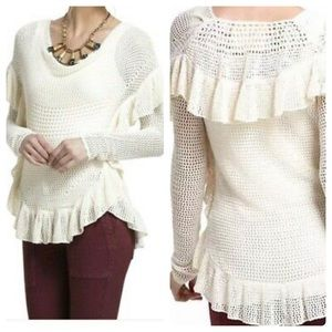Anthropologie cream ivory knit ruffle sweater S